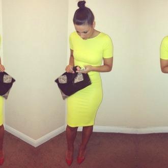 dress neon neon yellow bodycon green lime basic dress midi dress yellow dress yellow