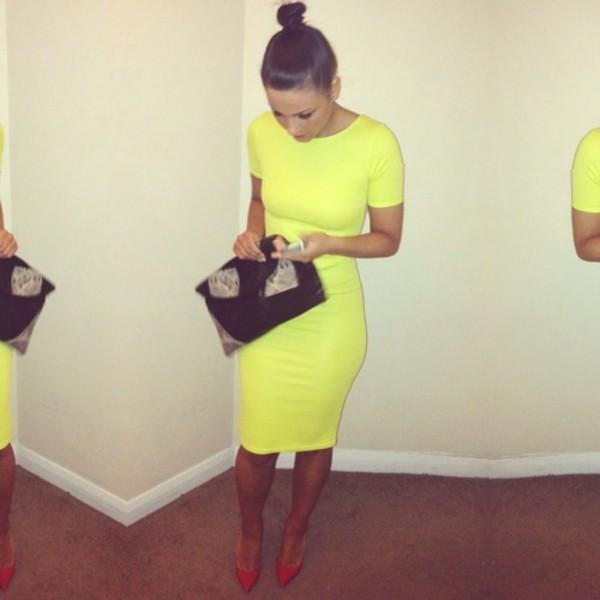 dress dress neon neon yellow bodycon green lime basic dress midi dress yellow dress yellow