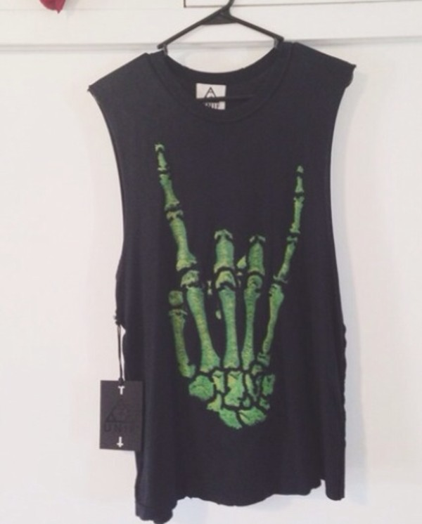 t-shirt muscle tee unif skeleton green black tank top