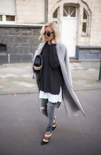 lisa rvd blogger ripped jeans grey jeans grey coat long coat oversized sweater grey long coat sweater navy long sweater jumper coat charcoal all grey everything all grey outfit tumblr grey sweater jeans skinny jeans high heels sunglasses winter outfits winter look