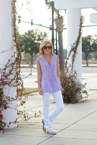 life with emily blogger top sunglasses lilac white pants