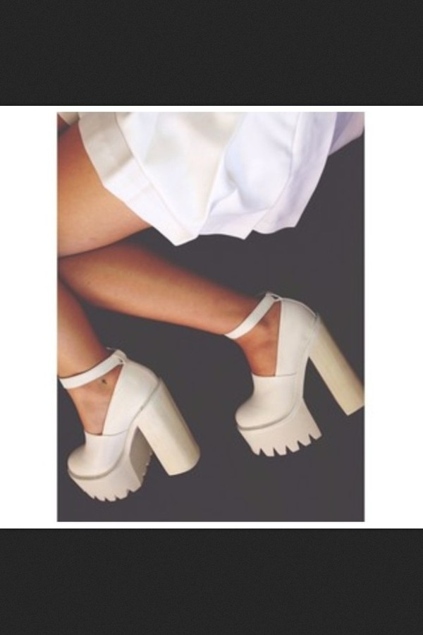 shoes platform shoes platform high heels white high heels