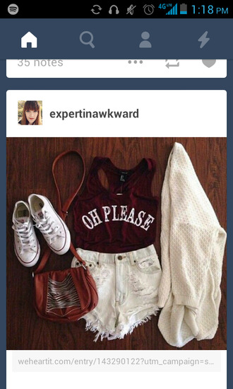 shirt oh please top red dress red shirt maroon/burgundy high waisted shorts sweater converse purse cute sweaters cut off shorts cute shorts cute purse pullover t-shirt crop tops outfit tumblr outfit outfit idea fashion shoes cardigan shorts bag tank top burgundy crop top white boyfriend cardigan