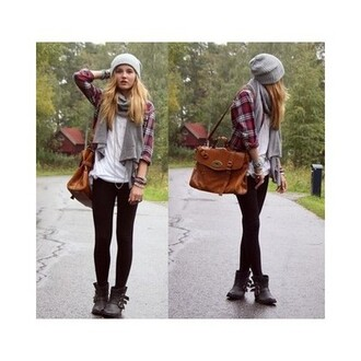 scarf cute beanies flannel shirt bag
