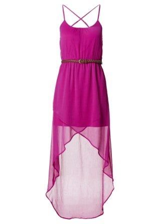 Attraktives Kleid mit ungewöhnlichen Saumstufen - dunkelfuchsia