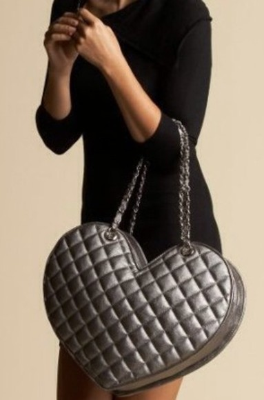 bag handbag black quilted heart shaped faux leather handbag purse bag
