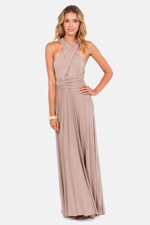 Awesome Taupe Dress - Maxi Dress - Wrap Dress - $68.00