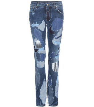 jeans patchwork blue