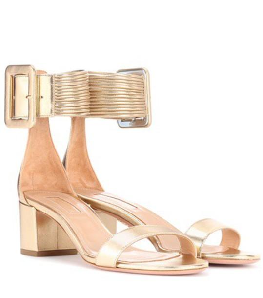 Aquazzura sandals leather sandals leather gold shoes