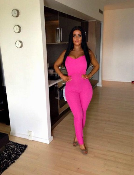 neon jumpsuit pink jumpsuit rumper top pink dress leg hair extensions kitchen clock tropical jewels bright colur colorful sparkle diamonds party style