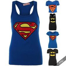 Women Superheroes Logo Printed Superman Batman T-shirt Top Cartoon Jersey Girls | eBay