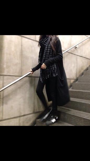 scarf black and white tumblr