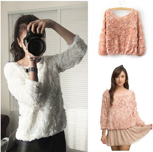 Celeb Style Vintage 3D Rose Flower Mesh Applique Jumper Pullover Shirt Top | eBay