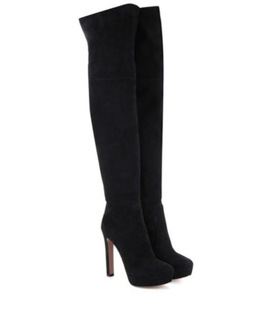 Prada Above-the-knee Suede Platform Boots in black