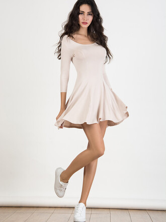 dress chiclook closet cream nude sexy cute dress skater skirt streetwear fashion cute girly kawaii summer outfits