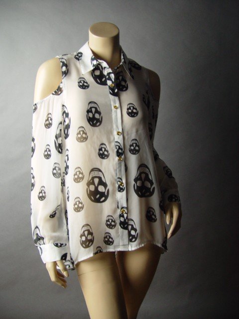 Black And White Skull Blouse 42