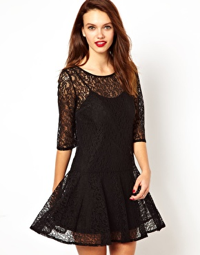 French Connection | French Connection Lace Dress With Drop Waist at ASOS