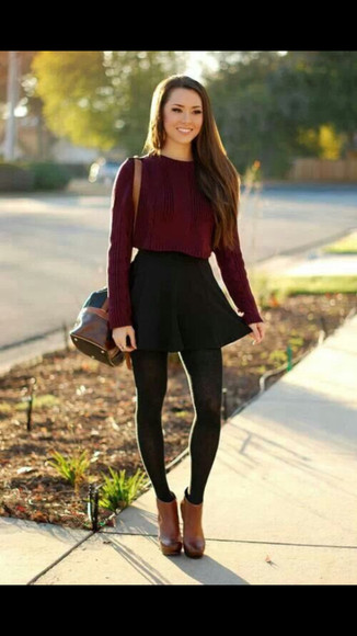 jumper burgundy fall outfits knitwear winter/autumn bag tights shoes skirt