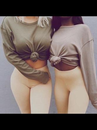 shirt army green long sleeves cute women