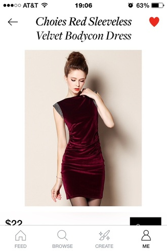 dress velvet dress red dress velvet dresses bodycon dress tight dress