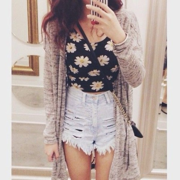 shirt crop tops daisy shirt High waisted shorts grey cardigan daisies top blouse