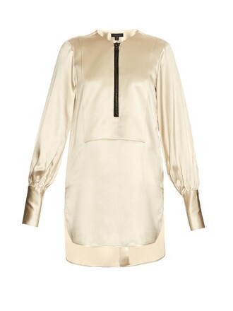 blouse zip satin top