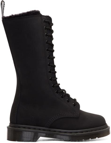 Dr. Martens fur suede black shoes