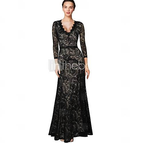 [cad $ 47.11] [xmassale]women's v neck long sleeve lace maxi dress