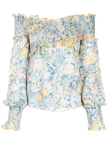 Alice McCall blouse women cotton print blue top