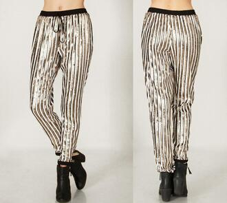 pants slacks stripes sequins sparkle designer party date outfit girls night juniors striped pants