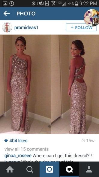 dress nude rinestones sparkly dress glitter dress one shoulder dresses prom dress slit dress prom gown