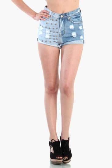 LoveMelrose.com From Harry & Molly | High Waist Studded Ombre Denim Shorts