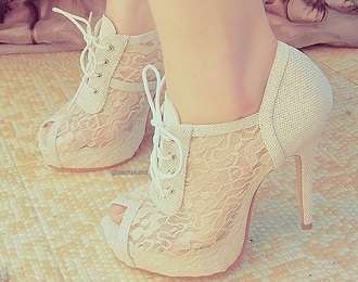 shoes white lace booties heels lace up pumps peep toe pumps white heels white shoes lace up heels