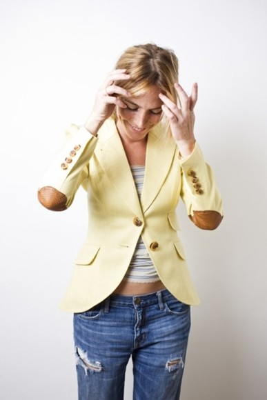 gold buttons jacket cute blazer elbow patch fresh
