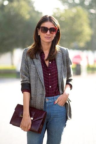 le fashion image blogger sunglasses jacket shirt bag