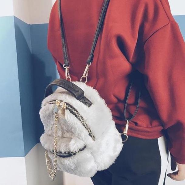 bag cute backpack mini shoulder bag fur furry bag