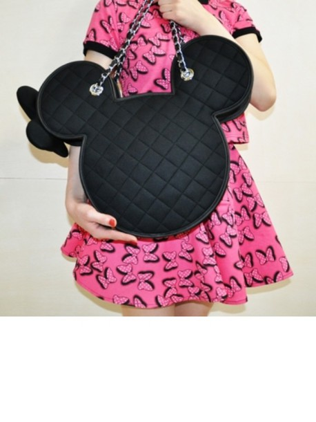 bag black minnie mouse metal straps