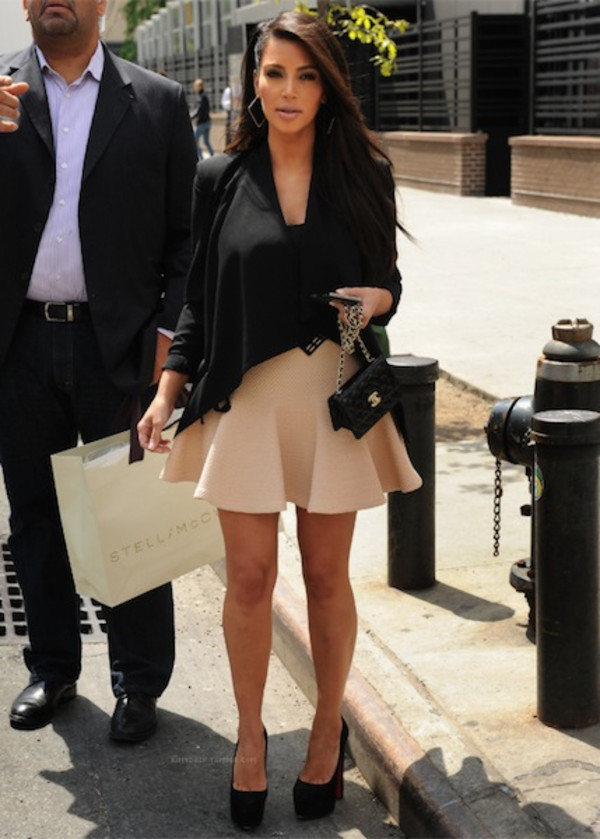 skirt kim kardashian nude skirt shoes