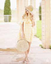 dress,hat,sun hat,tumblr,yellow,yellow dress,gingham,mini dress,ruffle,ruffle dress,bag,round tote,tote bag,shoes,gingham dresses
