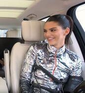 top,kendall jenner,kardashians,metallic,silver,zip