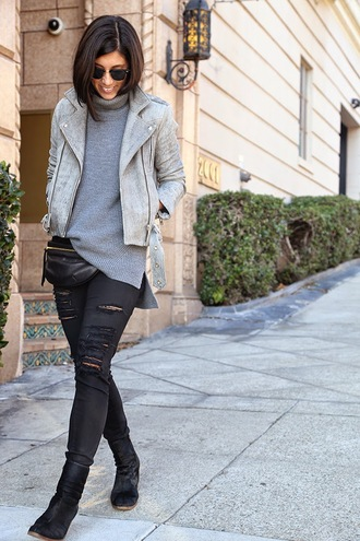 this time tomorrow blogger grey perfecto rock grey sweater jacket sweater jeans shoes sunglasses jewels
