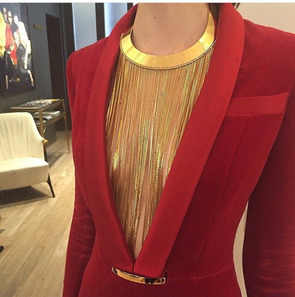 Cardigan: red, necklace, blazer, gold chain necklace, style ...