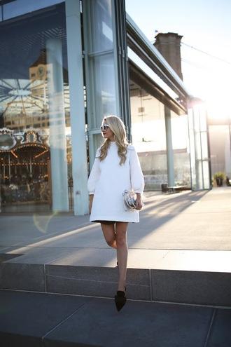 atlantic pacific blogger dress skirt sunglasses bag white dress long sleeves mini dress flats white sunglasses clutch