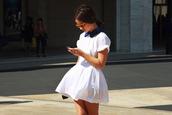 white dress,collar,short sleeve,dress