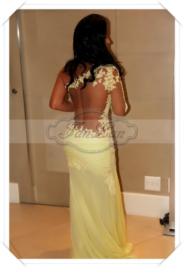 2014 New Arrival Zuhair Murad Sexy One Shoulder See Through Lace Yellow Mermaid Prom Evening Dress Vestido Formal-in Evening Dresses from Apparel & Accessories on Aliexpress.com
