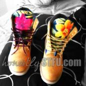 shoes,timberlands,floral,new,hot,custom,custom timberlands,custom mader