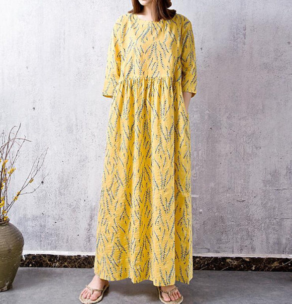 dress yellow long loose dress