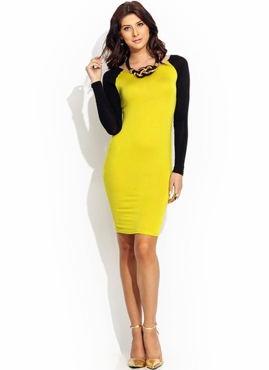 Go-To-Bat-Raglan-Midi-Dress CITRON RED WHITE - GoJane.com