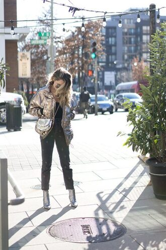 a lacey perspective - a fashion blog based in our nation's capital. blogger coat jeans shoes bag sunglasses metallic jacket crossbody bag ankle boots winter outfits