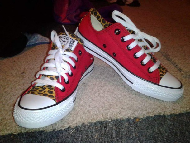 shoes converse leopard print red converse